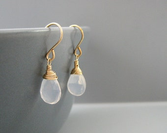 Clear Quartz Earrings - April birthstone, milky white small drop dangle wire wrapped in gold, silver, and bronze finish
