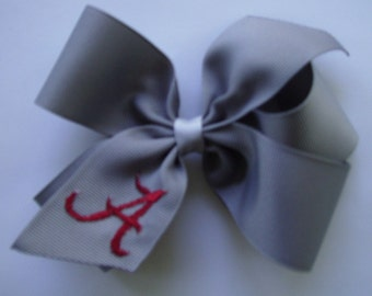 Daddy's Favorite, Alabama Crimson, Hair bows, Embroidered Gift, Monogram Idea, Bama, Football Hairbow, Girls Medium, Gray Team, Sports, Clip