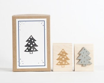 Christmas Tree Rubber Stamp MidCentury Modern Holiday