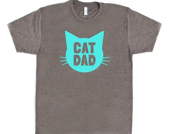 Cat Dad TriBlend Heather Brown TShirt with Aqua Blue print - Family Photos, Gift for Dad, Gift for Him, Father's Day, Cat Person, Cat Lady