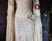 Boho lace dress wedding dress cream  lace tulle tiered   flapper  vintage  bride outdoor  romantic xs  by vintage opulence on Etsy