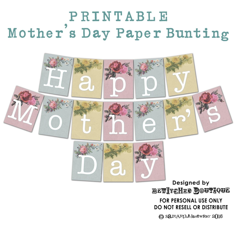 printable vintage mother 39 s day bunting garland flags. Black Bedroom Furniture Sets. Home Design Ideas