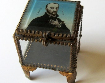 Antique St Francis Regis Jewelry Casket Box Rosary Reliquary French Early 1900s