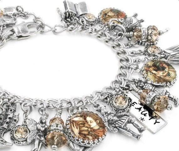 Belle and the Beast Charm Bracelet, Silver Charm Bracelet, Princess Belle Jewelry, Blackberry Designs Jewelry