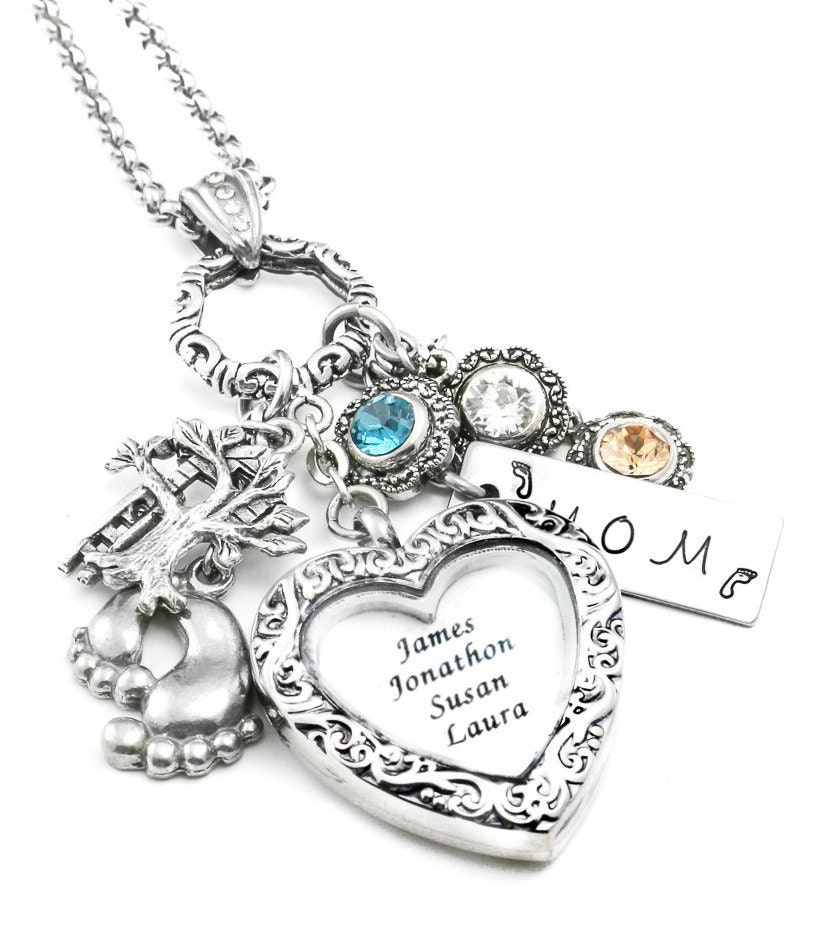 mothers necklace locket personalized mom von blackberrydesigns. Black Bedroom Furniture Sets. Home Design Ideas