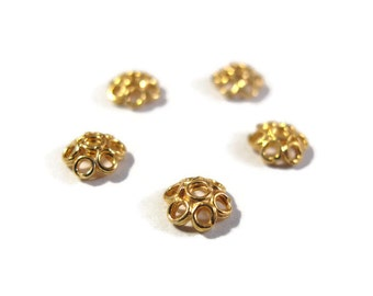 5 Gold Bead Caps, Five Vermeil Beadcaps for Making Jewelry, Flower Bead Caps, Gold Over Sterling Silver, Jewelry Supplies (H-153001)