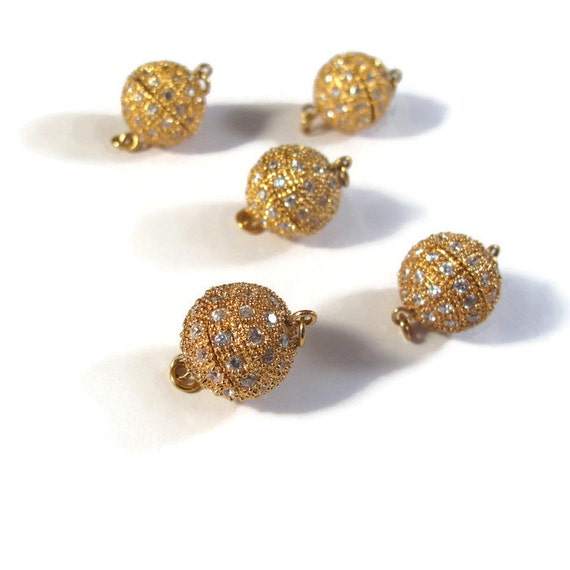 5 Gold Screw In Clasps, Round Pave Clasp Set with Crystals, Gold Plated, Clasp for Bracelets and Necklaces, Jewelry Supplies (F-20)