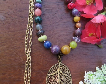 Long Boho Stone Necklace - Leaf Pendant - Rainbow Colorful - Funky Hippie Jewelry - Good Vibes Crystal Bohemian Jewels - Free People Gypsy