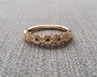 """Blue Sapphire Diamond Flower Engagement Ring Delicate Floral Wedding Bridal Band Wreath 14K Gold Cluster Anniversary Branch The """"Midsummer"""