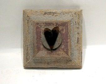Heart Art - Valentine - Be Mine - Mixed Media Wood Collage - Celebratory - Unique Love Keepsake - Minimalist - Wall Art