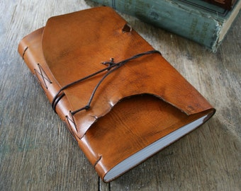 "Leather Journal / Sketchbook / Guestbook . Large 9""x6"" . Rustic . Handmade Handbound. hand-dyed rusty brown (320pgs)"