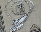Rocket Ship Necklace - Inspired by Antique Victorian Silverware - Doctorgus Handmade Jewelry Creation - Steampunk Style Spaceship Rocketship