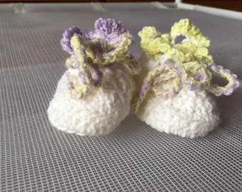 Pretty Crocheted Baby Booties - White Yellow Lilac
