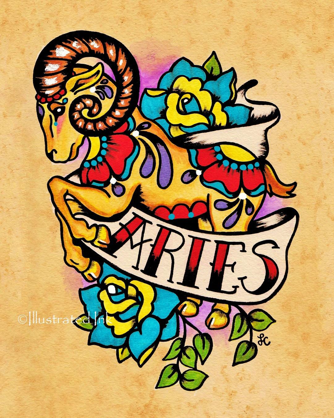 Zodiac Old School Tattoo Art ARIES Ram Astrology Print 5 x 7