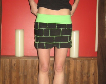 Eco Friendly Black Green tshirt Scrap mini Skirt Jersey Small Medium by Vicmes Clothing