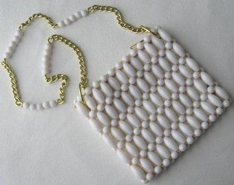 Mod Purse White Bag Beaded 60s Purse Handbag Pocketbook Shoulder Bag