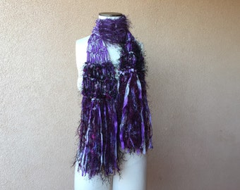 Purple and Black Scarf with Gothic Grey and Purple Scarf Accessories Knit Purple Scarf with Purple Ribbon, Fringe