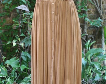 Hippie dress Long rayon India maxi dress embroidered hippie festival small tan