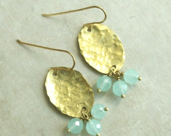 Bahia Hammered Brass and Aqua Quartz Beaded Dangle Earrings