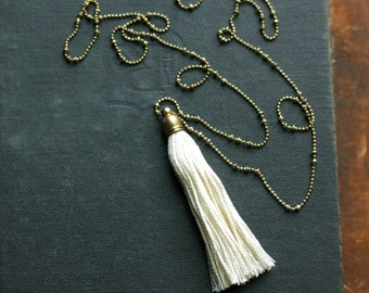 White Tassel Necklace, Long Tassel Necklace,  Layering Tassel Necklace