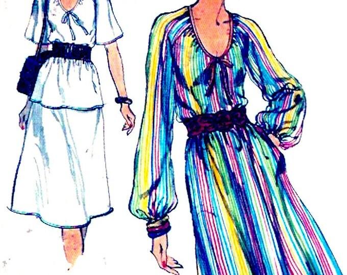 Prairie peasant dress 70s Boho spring summer vintage fashion Sewing pattern Sz 12 Vogue 9505