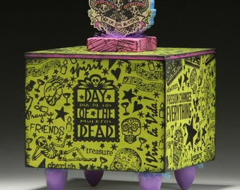 Box, Large storage box, Dia de los Muertos, Green, Day of the Dead