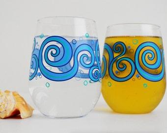 Ocean Waves Stemless Wine Glasses - Set of 2 Painted Beach Themed Glasses, Beach Wedding, Ocean Wedding, Tropical Wedding, Blue Wave Glasses