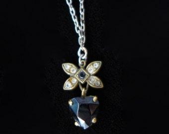 Vintage Tiny Black Heart Charm Necklace