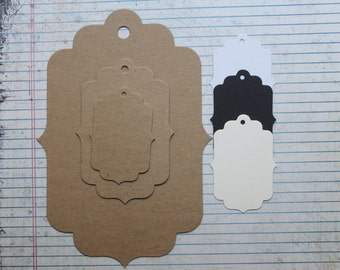 Bare Chipboard or cardstock Tags with bracket edges die cuts [choice of 3 sizes]