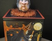 OOAK Halloween Box Handpainted Vintage Inspired Witches Crows Cats Moons Haunted Trees by CREATIVELYJUICED Clay Witch Head on Lid BEAUTIFUL