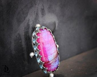 Pink Moonstone // Enchantress No. 1  // Pink Rainbow Moonstone and Swarovski Rhinestones Sterling Silver gemstone, welded by Bellalili