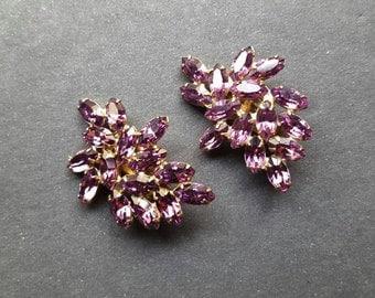 Weiss Casino Gala Rhinestone Clip Earrings -Vintage Purple Bridal Jewelry Runway Diamante 1960's 60's Crystals Ear Crawlers Large Earrings