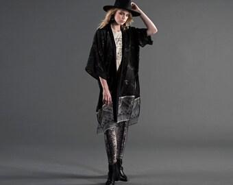 Black Chiffon Robe, Bohemian Kimono, Printed Kimono Robe, Kimono Jacket, Boho Kimono, Paisley Print Robe, Tapestry Print, Norwegian Wood,