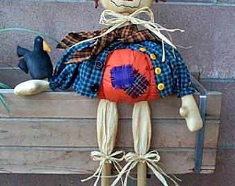 Pumpkin Scarecrow Pattern, Primitive Scarecrow Doll & Crow, Cloth Doll Pattern, Fall PDF Pattern, Prim Pumpkin, Spencer Pumpkin Scarecrow