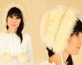 ViNtAgE 60's Tuscan Lamb MoD Fur SnowBunny Pom Pom Hat