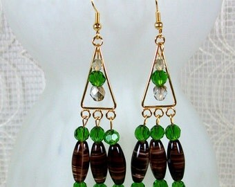 Gold Toned Chandelier Earrings with Dangles |  Earrings with Brown and Green Dangles | Handmade Earrings