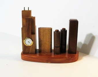 Chicago Cityscape Wooden Skyscraper Buildings With Clock
