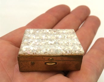Vintage Brass Pill Box with Sparkly Decorative Lucite Lid