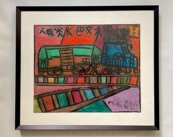 Japanese by Chicago Artist Florencio Sierra - Original Colored Pencil Framed Artwork, 2007