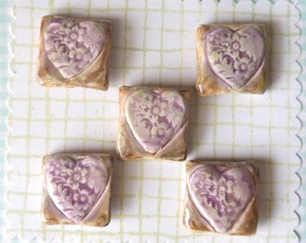 Set of 5 Square Ceramic Shank Buttons, Purple and White with Brown Antique Style Glaze, Shabby Chic, Lace Impressed Heart