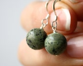 African Turquoise Earrings . Planet Earrings . Round Earrings . Geology Jewelry . Simple Drop Earrings - Corinth Collection NEW