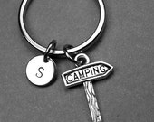 Camping sign keychain, camping keychain, camping sign charm, camping keyring, personalized keychain, initial keychain, customized keychain