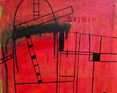 Spanish Painting. Gaudi's Play. Industrial Painting. Modern Spain. Abstract canvas art. Minimalist decor. Red Black.