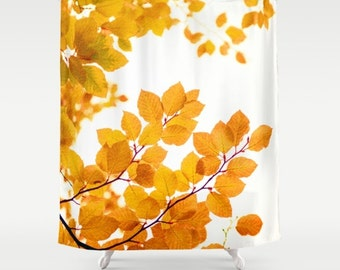 fabric shower curtain- yellow and white- nature- leaves-trees- modern bathroom decor