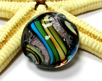 SMAUGGS handmade lampwork bead, Lentil (22mm x 13mm), glass, colorful, glitter, hole 2mm