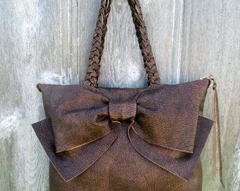 Leather Bow Bag in Rustic Brown - Medium Size by Stacy Leigh