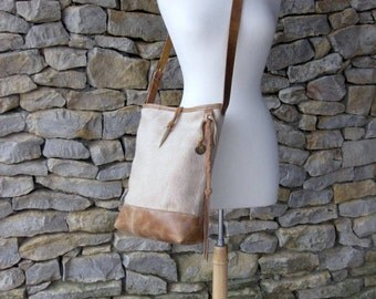 Beige Hair on Cowhide and Distressed Leather Bucket Bag by Stacy Leigh