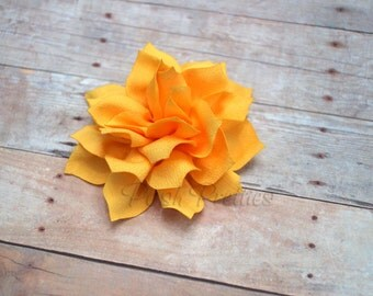 NEW Yellow Mini Flower Hair Clip- Lotus Blossom - With or Without Rhinestone Center