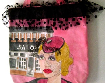 VERONICA FASHION TOTE, handpainted tote, Paris, dotted tulle, canvas, hot pink, art deco, lined tote, shoe tote, library tote, red hat