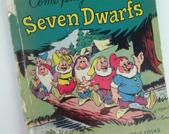 1948 Walt Disney's Come Play With the Seven Dwarfs - Snow White Book - A Walt Disney's Playbook For Little Folks